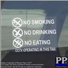 2 x Taxi Warning Stickers-No Smoking,Eating,Drinking-CCTV In Operation,Warning